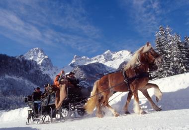 Pferdeschlittenfahrt in der Urlaubsregion Pyhrn-Priel