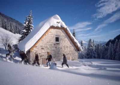 Schneeschuhwandern bei der Dörflmoaralm